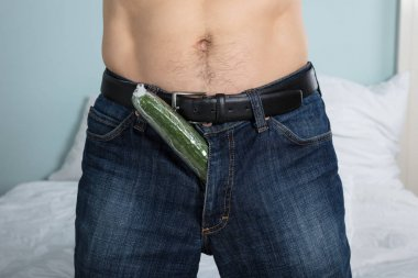 Person With Cucumber In Pants