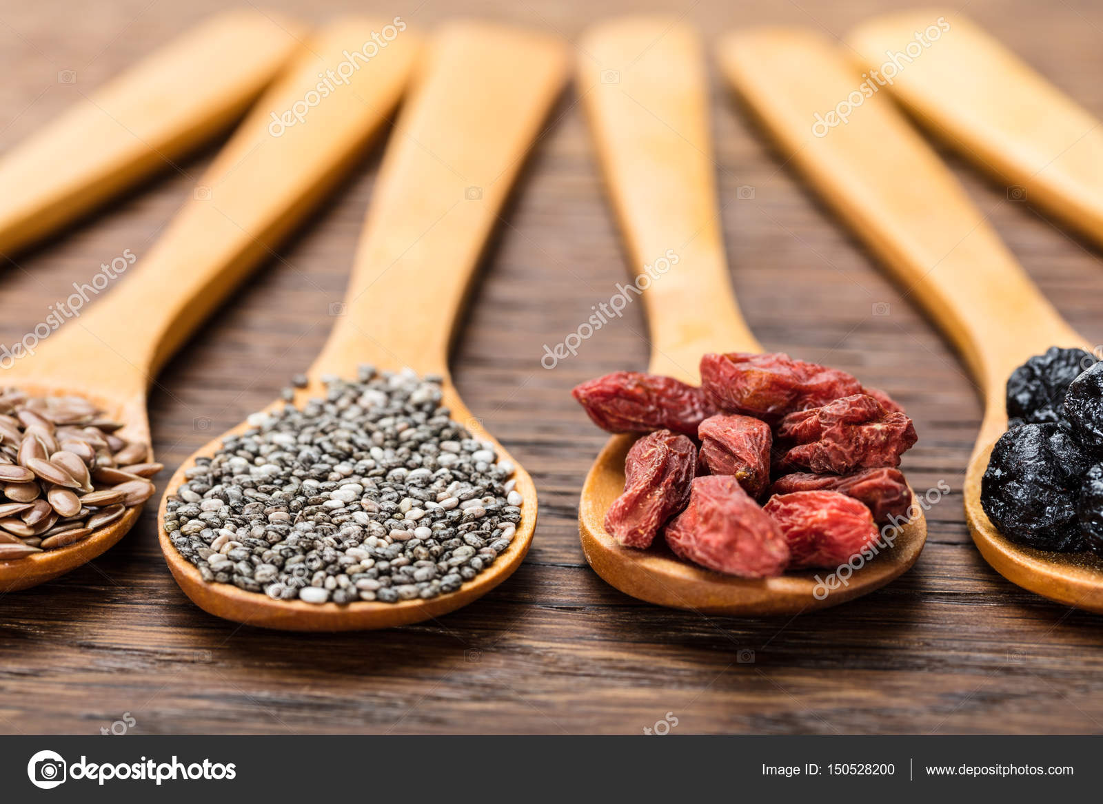 Flaxseeds Chia Seeds Goji Berries Stock Photo C Andreypopov