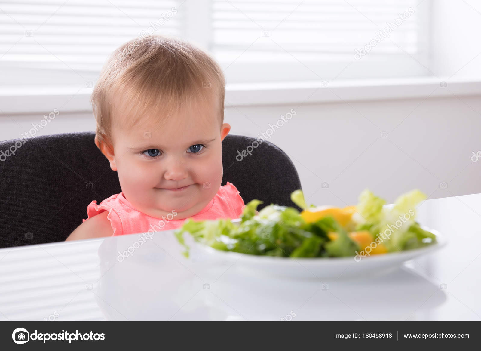 close cute baby looking food plate breakfast — stock photo