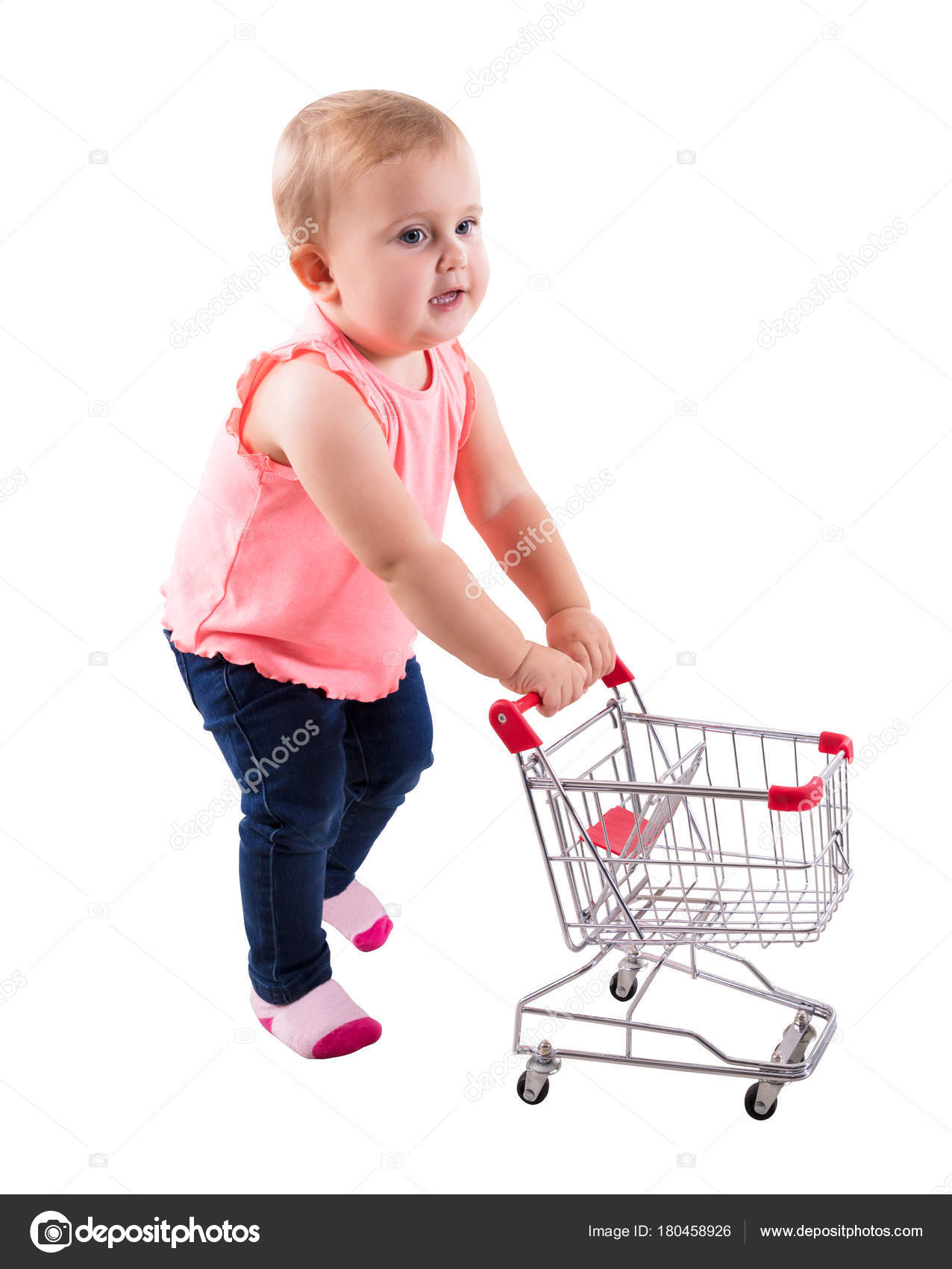 3e7da6c73 Baby Girl Holding Small Shopping Cart On White Background — Photo by ...