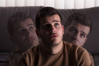 Multi Exposure Of Contemplated Man At Home