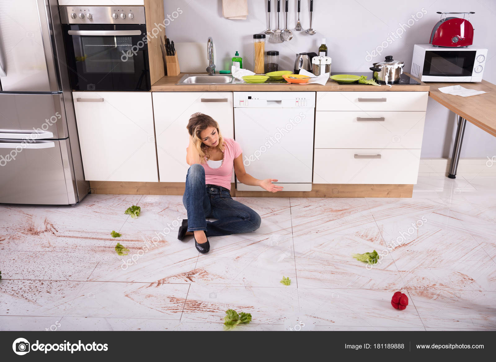 Unhappy Young Woman Sitting Dirty Kitchen Floor Home — Stock Photo ...