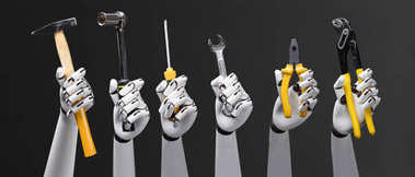 Close-up Of Robot's Hand Holding Work Tools On Blue Background