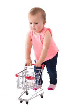 Baby Girl Holding Small Shopping Cart On White Background