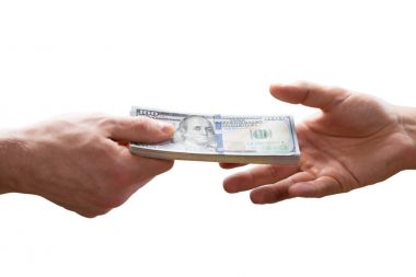 Human Hand Giving Bribe To Other Person On White Background