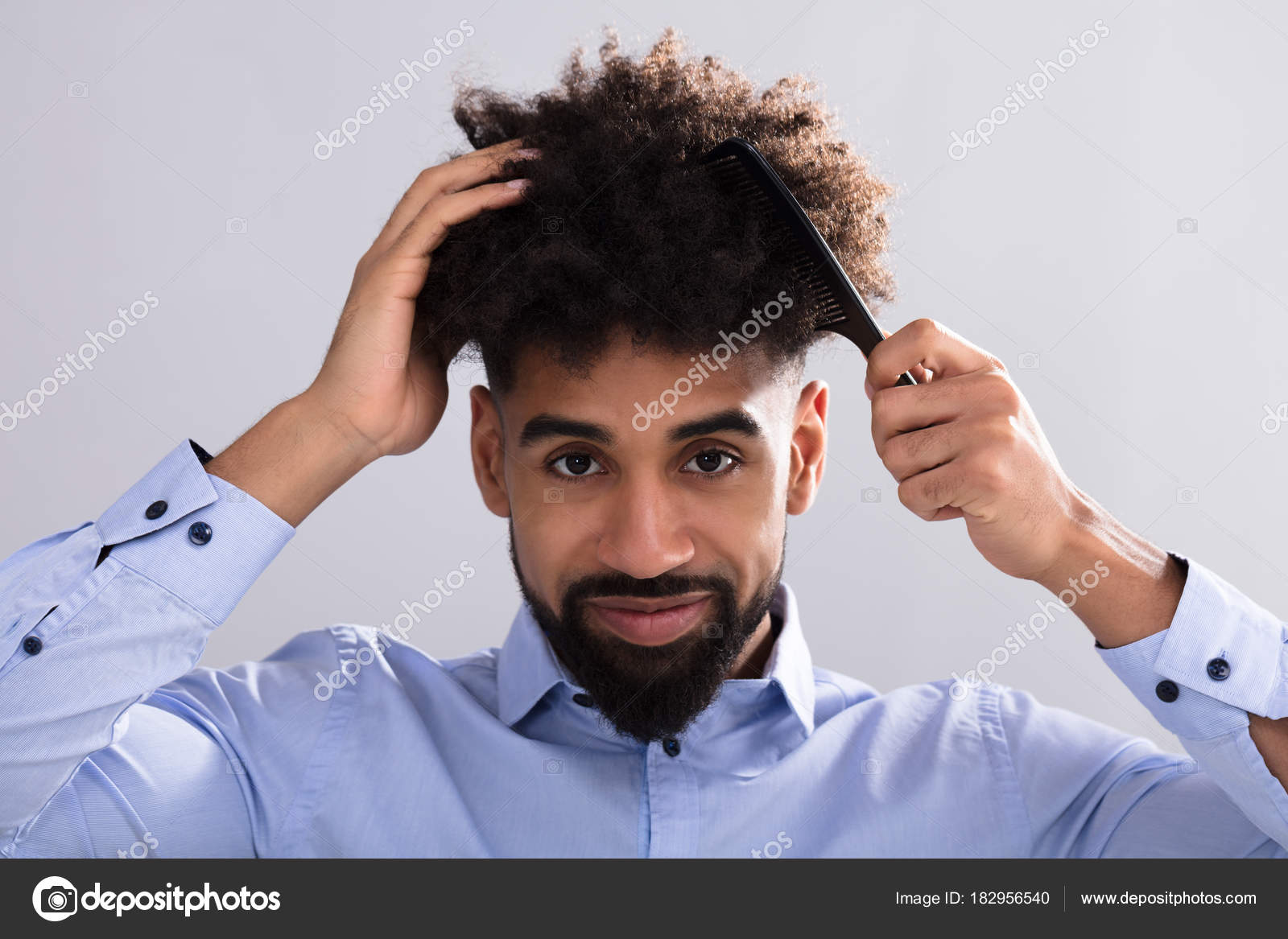 Portrait Young Man Combing His Hair Hair Comb Stock Photo
