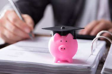 Close-up Of Pink Piggybank With Graduation Cap On Document