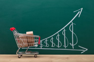 Small Shopping Cart With Cardboard Boxes In Front Of Increasing Dollar Graph On Blackboard