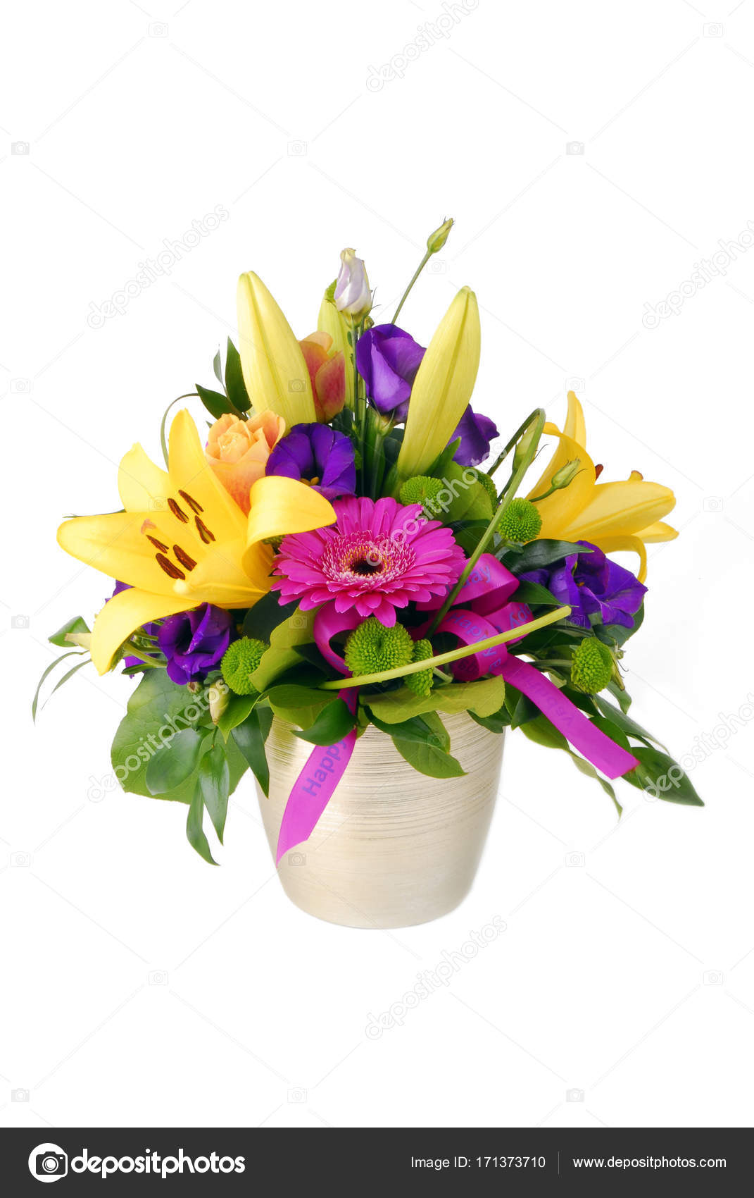 bouquet of flowers happy birthday isolated on white — Stock Photo ...