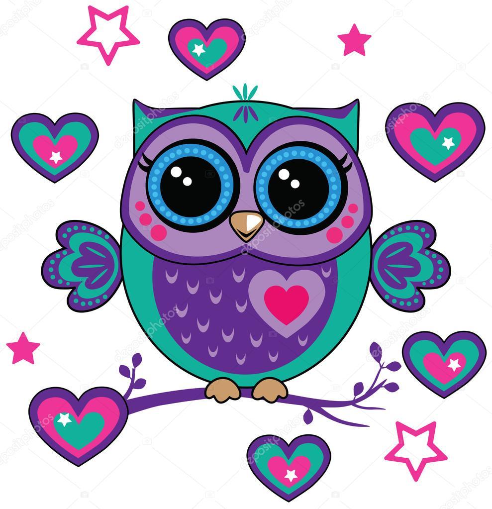 Cute Owl With Hearts Stock Vector C Penochka1 128144884