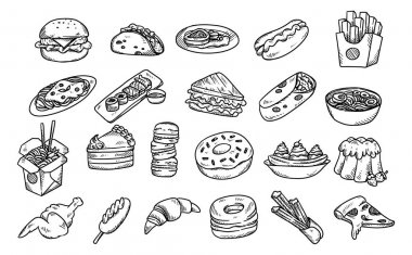Set of hand drawn food isolated on white background stock vector