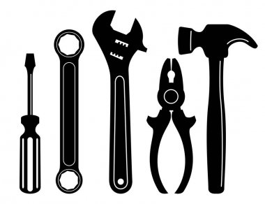 Repair tools isolated on white
