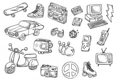 Set of vintage object doodle