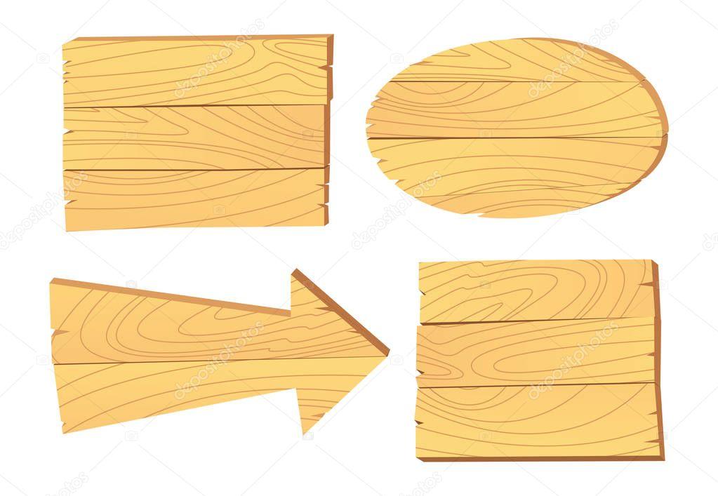 Set of cartoon wooden signboard