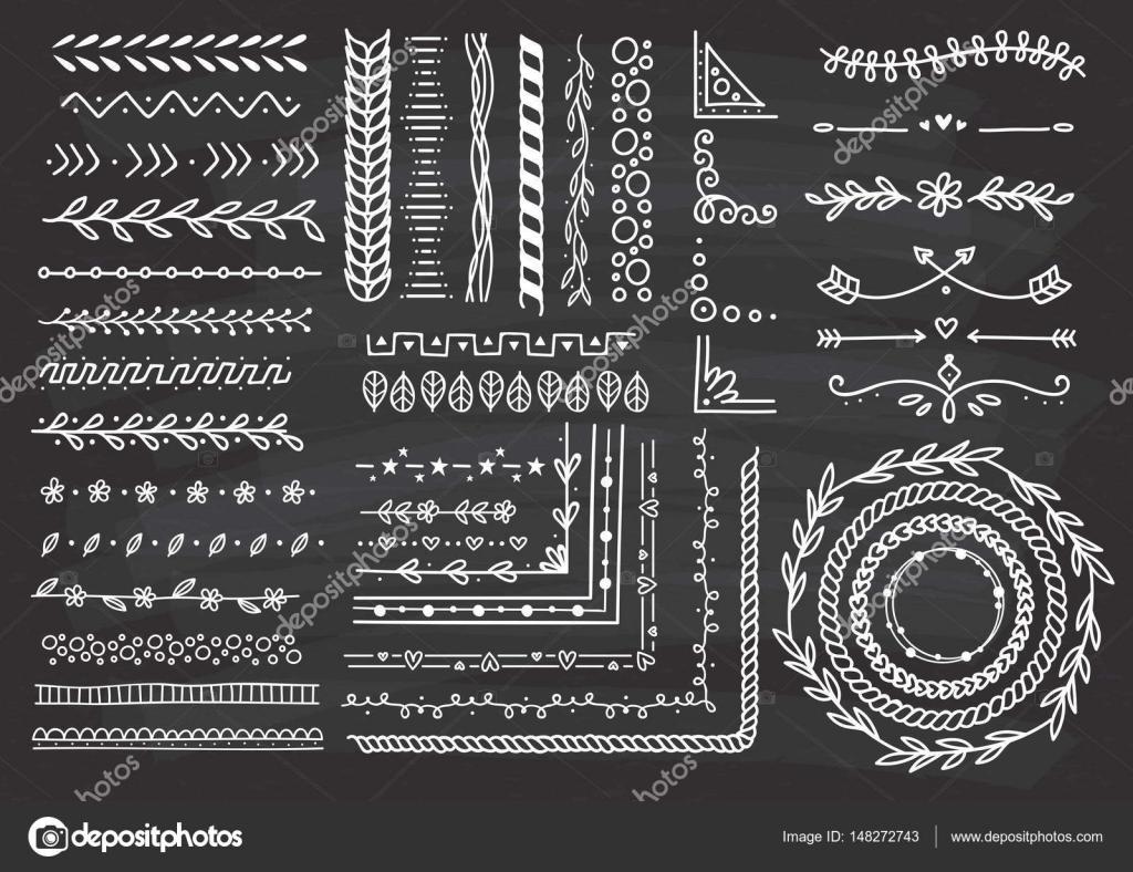 Satz von Grenze, Pinsel, Rahmen — Stockvektor © mhatzapa #148272743