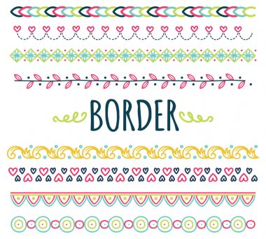 Set of  hand drawn border