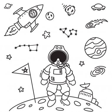 Space theme doodle with cosmonaut