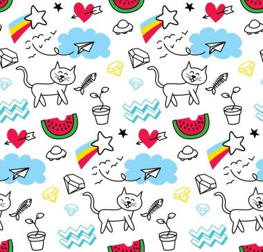 Abstract doodle pattern with cat, watermelon, cloud, etc clip art vector