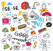 Cute mix doodle elements vector illustraion