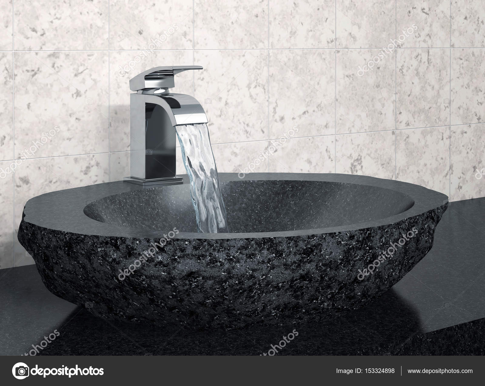 Superior Bathroom Faucet And Black Stone Sink U2014 Stock Photo