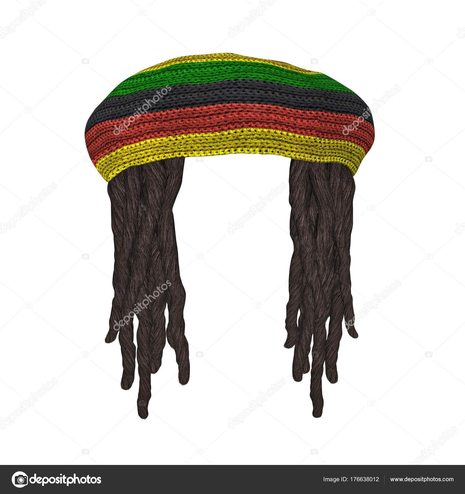 Los rastafaris sombrero con rastas aislado en blanco — Fotos de Stock 5d4a6f7f37d