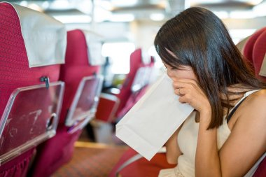 Woman suffer from seasick