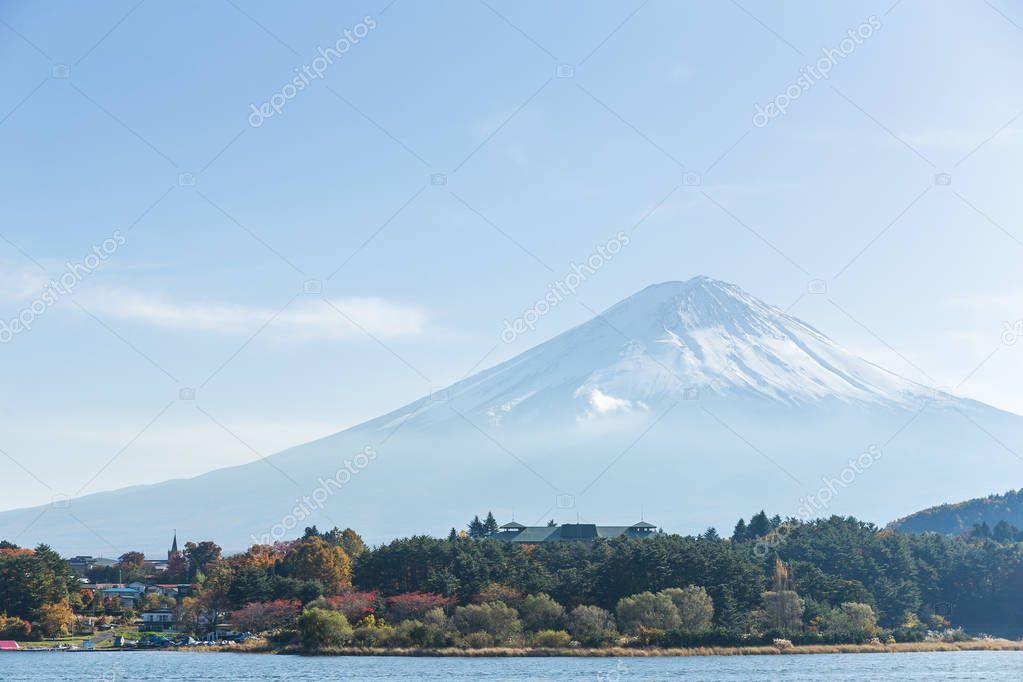 Mount Fuji and lake in Japan
