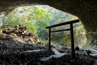 Shinto shrine gateway in the cave