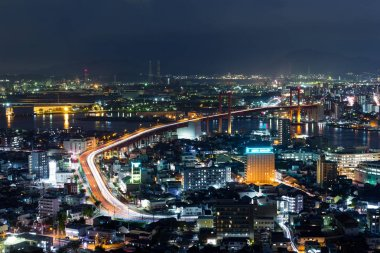 Kitakyushu cityscape at night in Japan