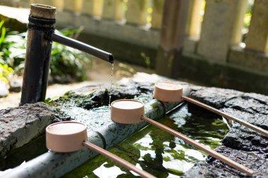 Japanes wooden ladles in shrine