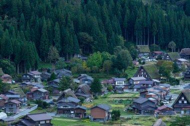 Sunset of Shirakawago village in Japan