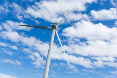 Wind turbine with clouds in sky