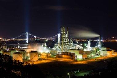 Industrial factory in Muroran at night