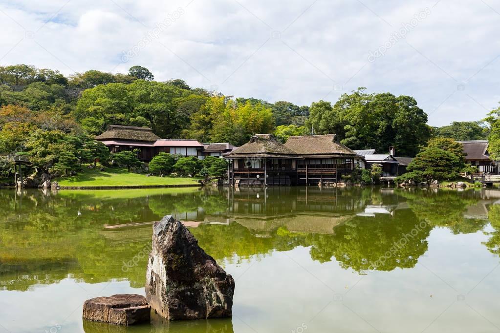 Japanese Garden near beautiful lake