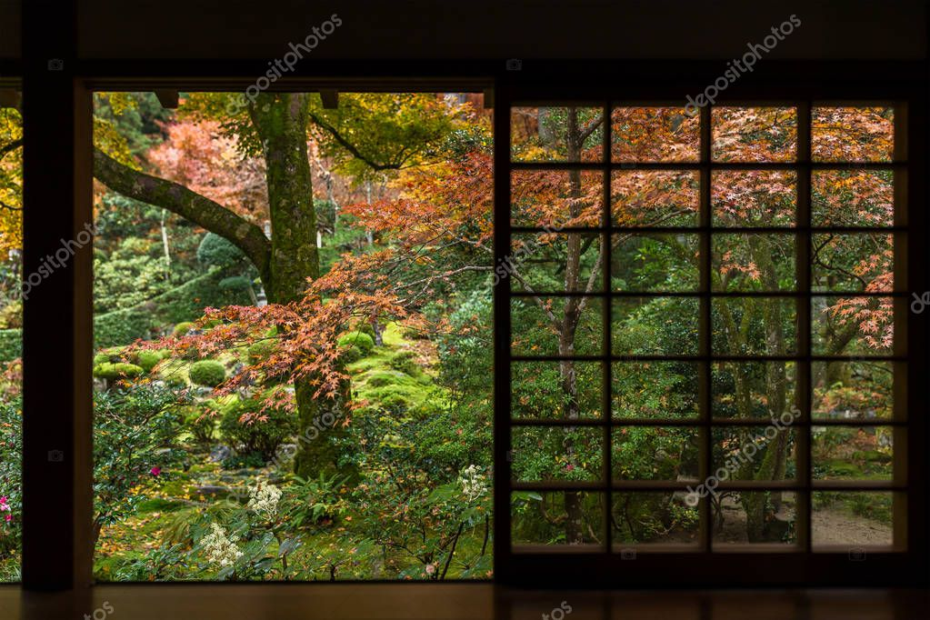 Japanese garden with autumn maple trees