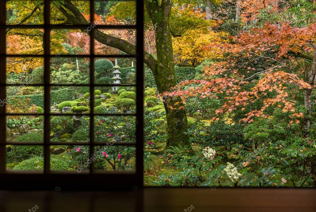 Japanese architecture with maple trees