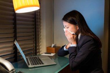 Business woman feeling sick