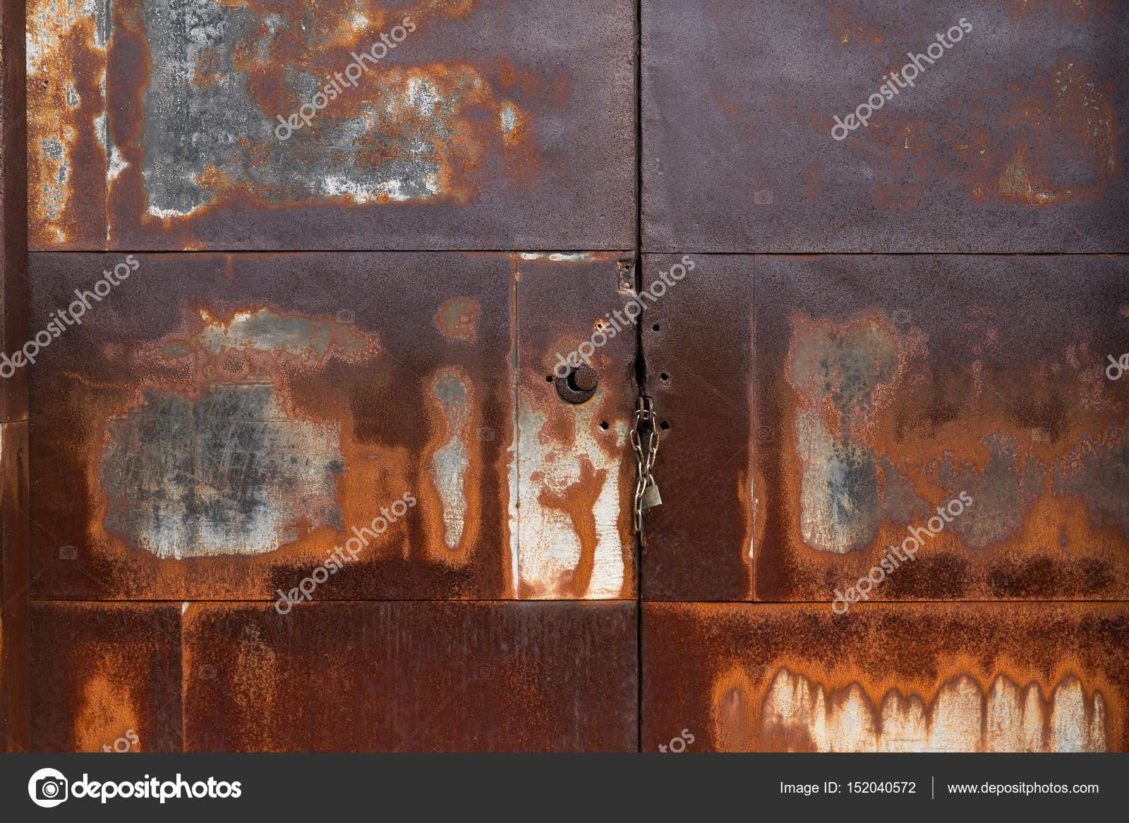 Rustic Metal Door Background Stock Photo