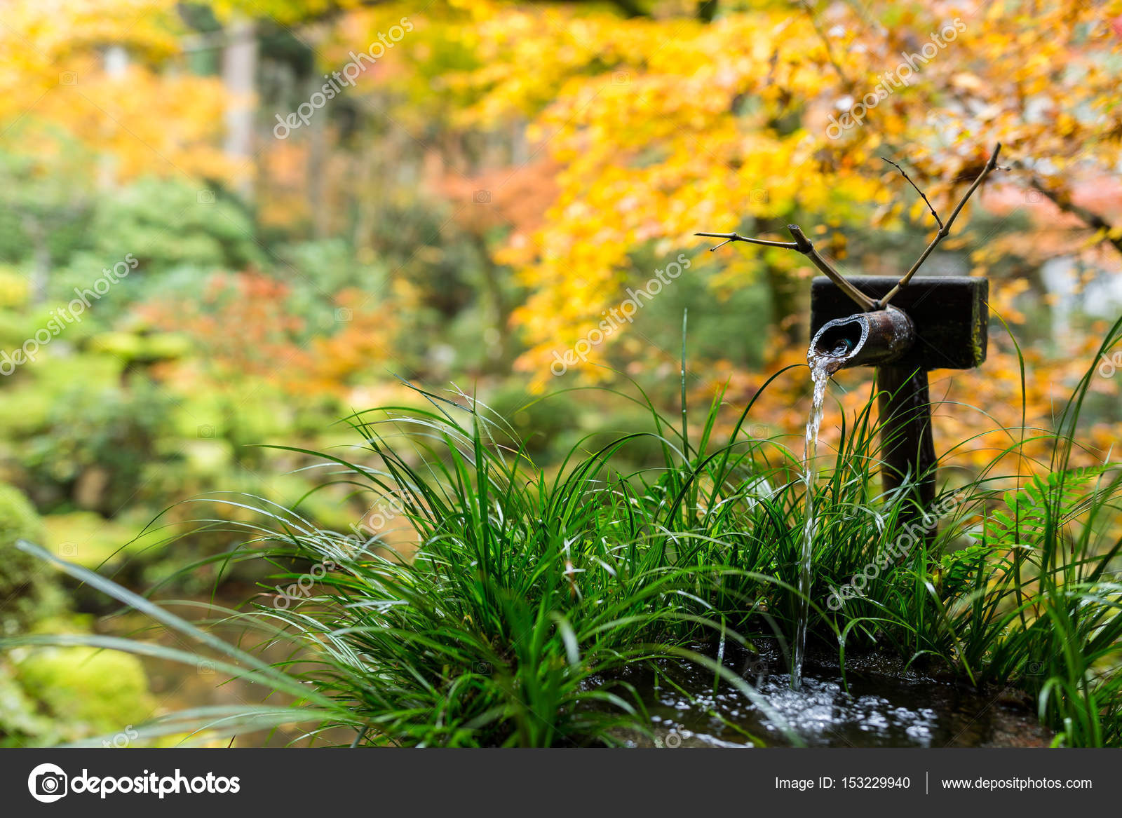 Wasser Bambus Brunnen In Japanischer Tempel Stockfoto