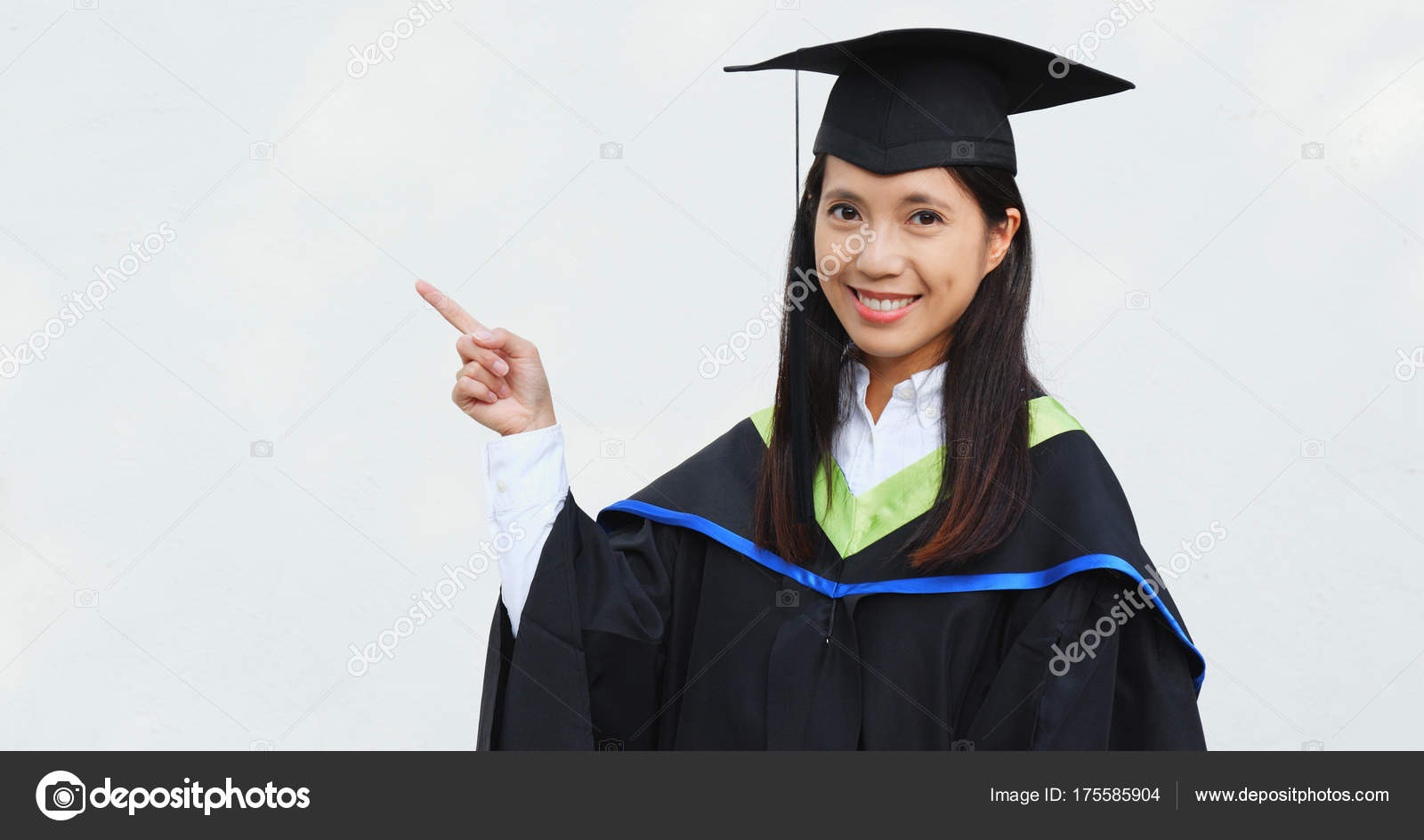Student Woman Graduation Gown Finger Point Aside — Stock Photo ...