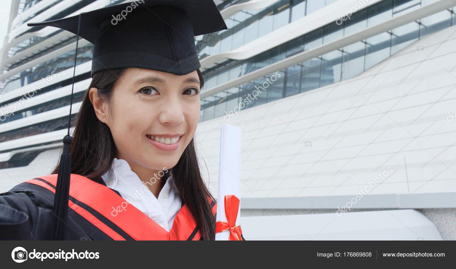 Cheerful Woman Wear Graduation Gown Make Video Call — Stock Photo ...