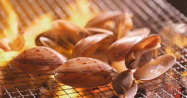 Seafood Barbecue with clams on fire