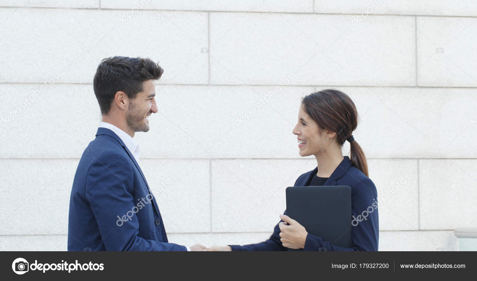 Business people greeting hand shaking company deal talking each business people greeting hand shaking company deal talking each other stock photo m4hsunfo