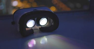 VR headset playing movie at night