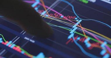 Analysis stock market data on digital screen stock vector