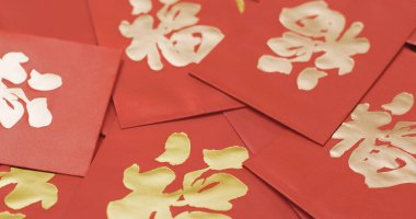 Lunar new year red packets with word meaning of luck