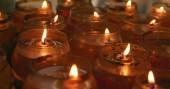 Tai Po, Hong Kong - 12 April, 2018: Candle light burning inside Man mo temple