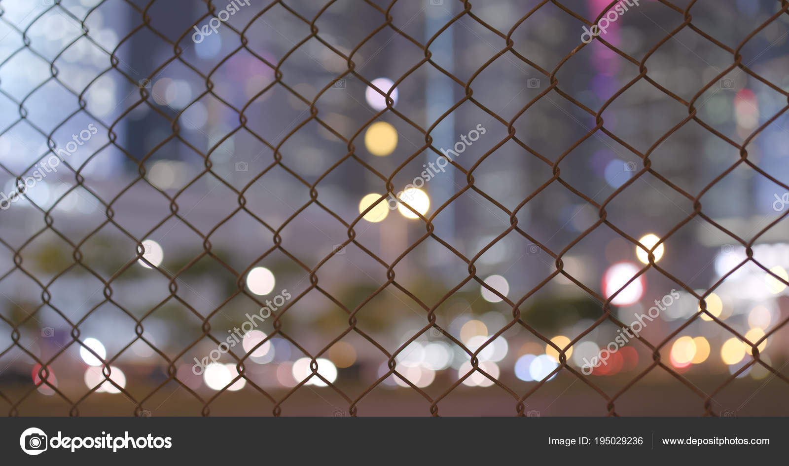 Blur View City Hong Kong Night Woven Wire Fence — Stock Photo ...