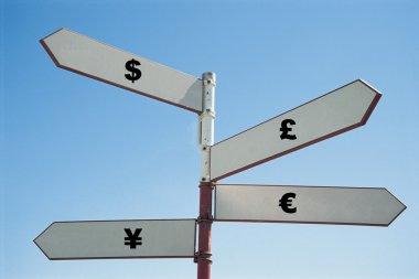 signpost with currency sign