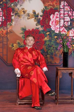 Man in traditional Chinese wedding attire